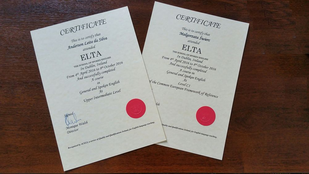 Elta certificate
